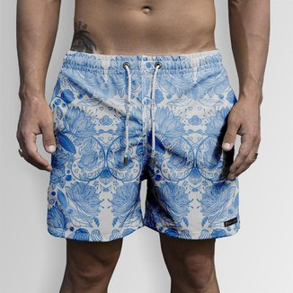 Short Bermuda Jon Cotre Flores Azuis Masculino
