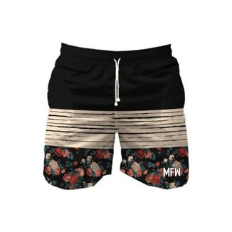Short Dark Roses Com Bolsos SH1246 Preto