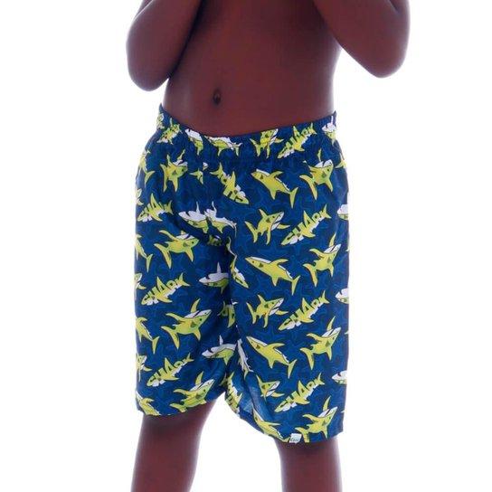 Short de Tactel Comprido Infantil Shark  Cecí - Azul