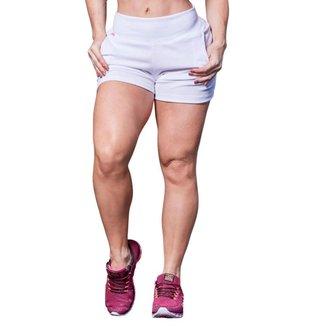 Short Feminino Fitness Curto Poliéster  Branco