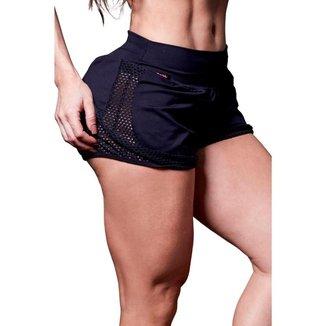 Short Feminino Fitness Tela North Preto