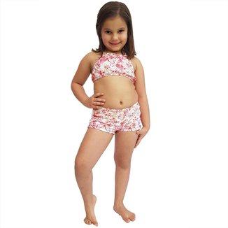 Short Feminino Infantil com Cós Largo Borboleta
