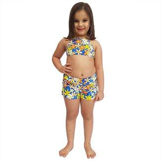 Short Feminino Infantil com Cós Largo Jeans