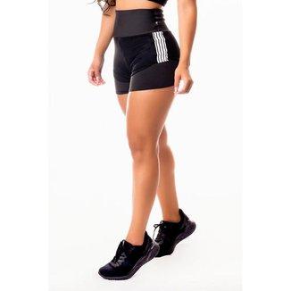 Short Fitness Feminino Academia Preto com Tela Dry Fit e Elástico Branco Cintura Alta
