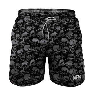 Short Grunge Skull Silver Tactel Masculino com Bolsos