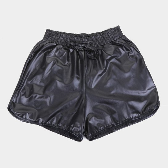 Short Infantil Costão Boxer Cirrê Feminina - Preto