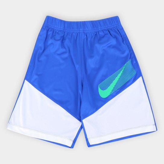 Short Infantil Nike Dominate GFX Masculino - Azul Royal+Branco