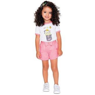 Short Infantil, Rosa Neon - Fakini