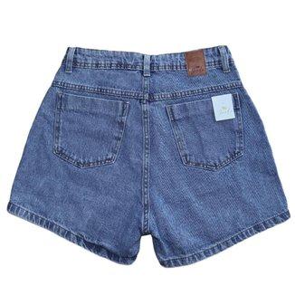 Short Jeans Feminino Cintura Alta Com Bolso Vazado