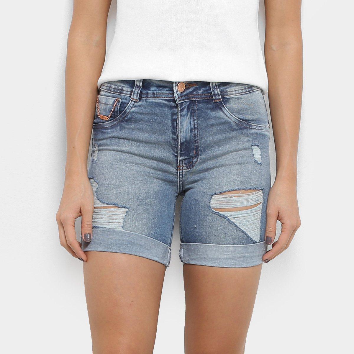 Jeans Estonado Cintura Média Biotipo Rasgos Azul Skinny Short Feminino c34SL5RAjq