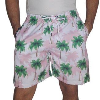 Short Masculino Tactel Estampado Coqueiros Conforto Verão