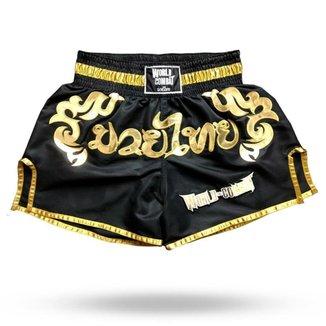 Short Muay Thai World Combat Thailand Style - Black Gold