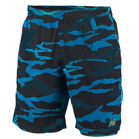 Short New Balance Accelerate 7IN Masculino - Preto e Azul - Preto+Azul