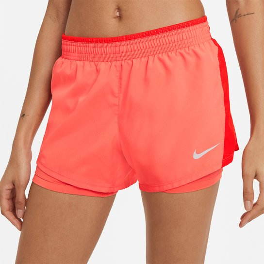 Short Nike 10K 2 em 1 Feminino - Salmão+Vermelho