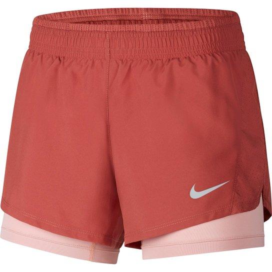 Short Nike 10K 2 em 1 Feminino - Bordô+Cinza