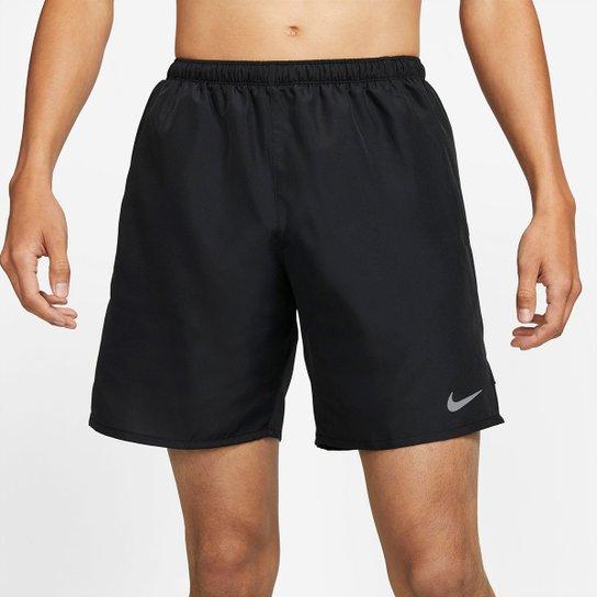 Short Nike Df Challenger 7UL Masculina - Preto+Prata