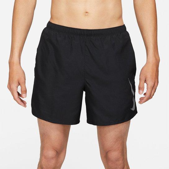 Short Nike Dri-fit Run Division Challenger Shrt 5Bf Masculino - Preto+Prata
