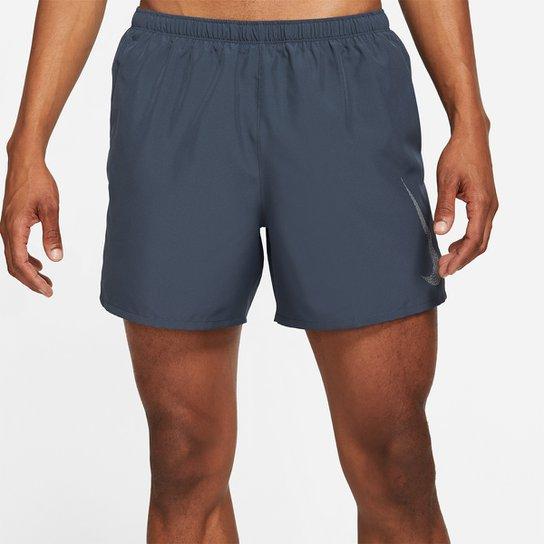 Short Nike Dri-fit Run Division Challenger Shrt 5Bf Masculino - Azul+Prata