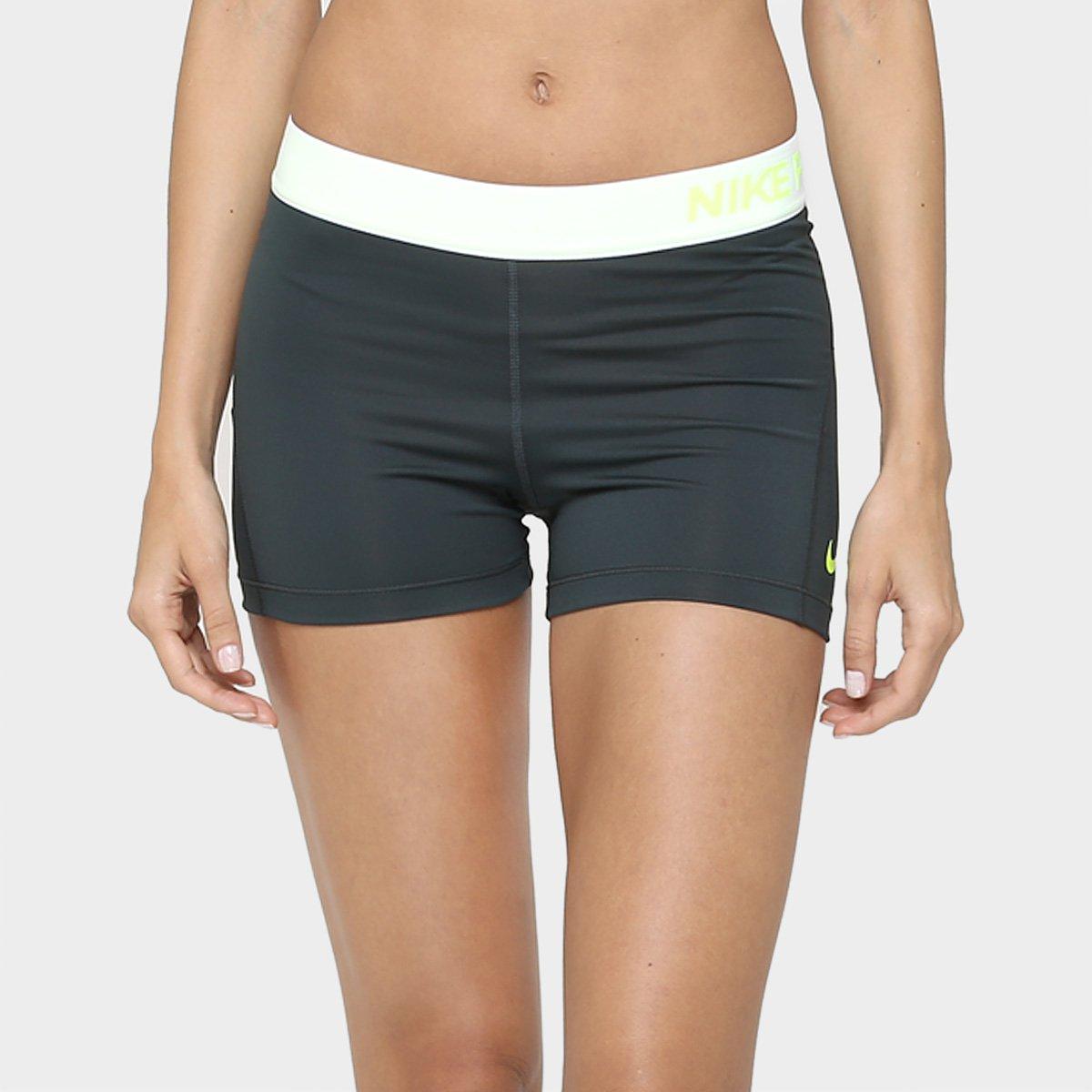Short Nike Pro Cool 3 Pol Feminino Chumbo E Verde Limão
