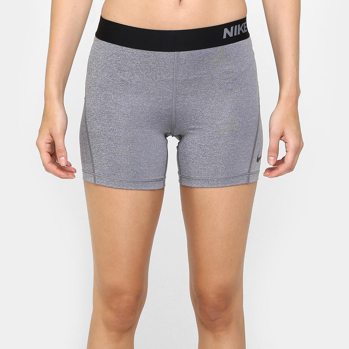 Short Nike Pro Cool 5 Pol Feminino Cinza E Preto