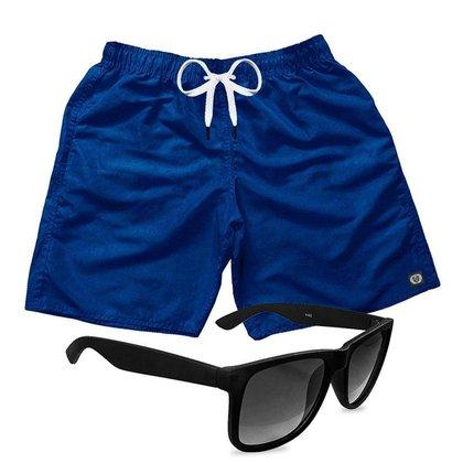 Short Praia Bermuda Mauricinho Azul Escuro + Óculos Preto