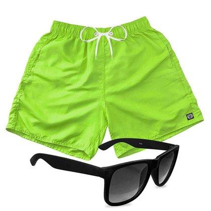 Short Praia Bermuda Mauricinho Verde + Óculos Preto