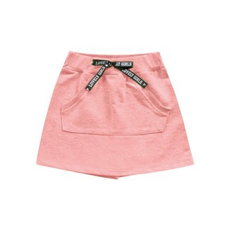 Short Saia Fakini Infantil Feminino 4 Ao 10 Laranja Neon