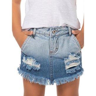 Short Saia Jeans Estonado Destroyed Infantil Menina - Mania Kids