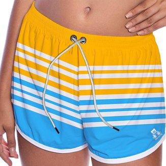 Short Tactel Feminino Com Bolso Listrado Moda Verão Praia