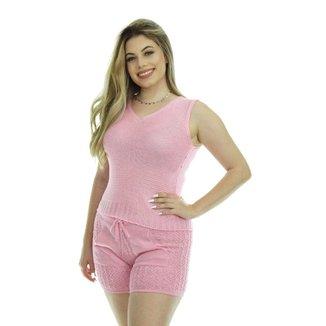Short Tricot Carmen Feminino Shopping do Tricô Verão Bolso