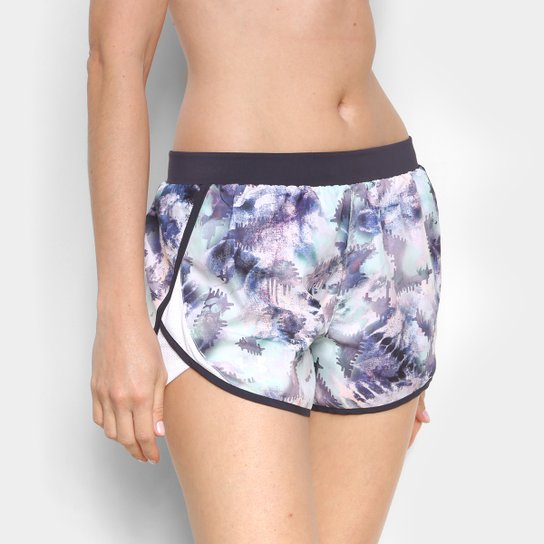 Short Under Armour Fly By 2.0 Printed Feminino - Azul Claro+Preto
