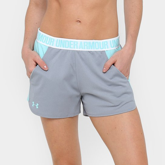 Short Under Armour New Play Up Feminino - Cinza+Azul