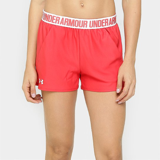 Short Under Armour New Play Up Feminino - Vermelho+Branco
