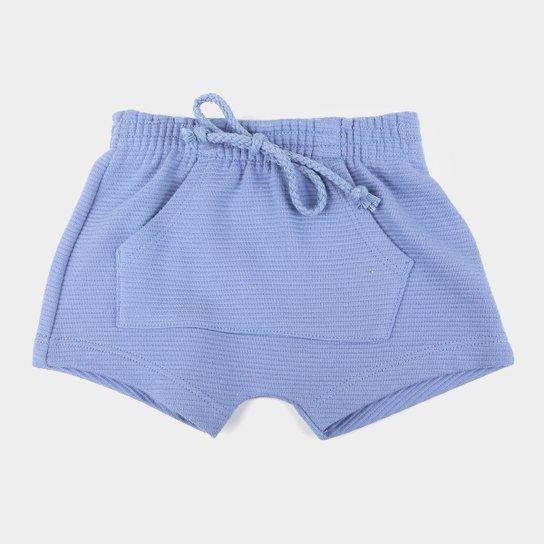 Shorts Bebê Hering Bolso Canguru Básico Masculino - Azul Escuro