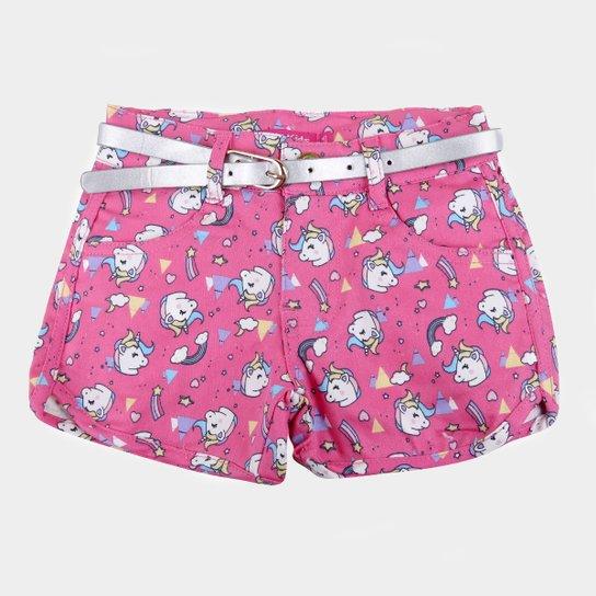 Shorts Bebê Plural Kids Cinto Unicórnio Feminino - Pink