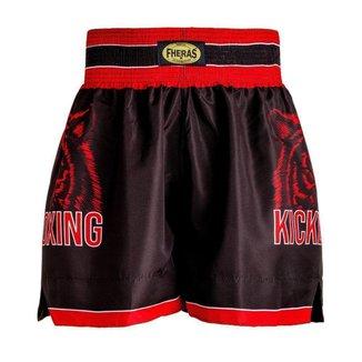 Shorts Boxe Kick-Boxing Tigre Preto/Vermelhoi