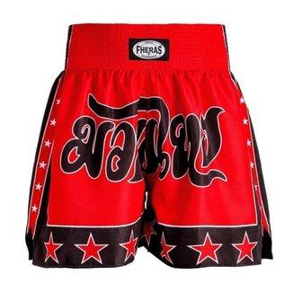 Shorts Boxe Muay Thai Fheras Estrela Vermelho/Preto