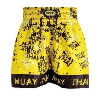 Shorts Boxe Muay Thai Fheras Training Grafite Amarelo