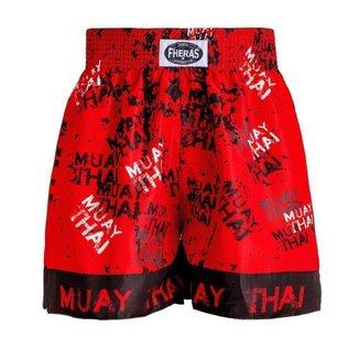 Shorts Boxe Muay Thai Fheras Training Grafite Vermelho