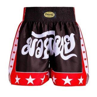 Shorts Boxe Muay Thai Fheras Training New Estrela Preto