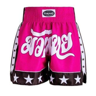 Shorts Boxe Muay Thai Fheras Training New Estrela Rosa