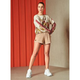Shorts Colcci Fitness Moletom 0065700346 - Bege - M