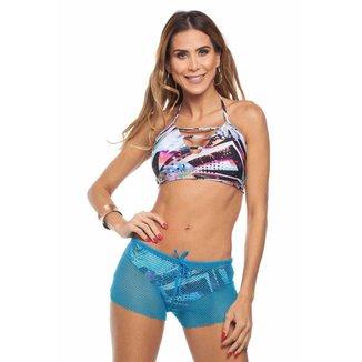 Shorts de Praia Maré Brasil em Tela Feminino