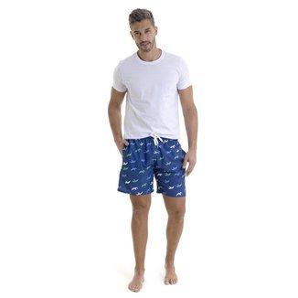 Shorts estampado com elástico
