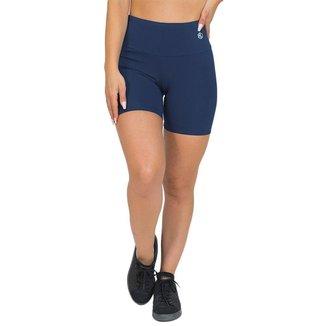 Shorts Feminino Fitness Cós Alto Azul Escuro