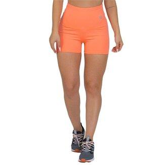 Shorts Feminino Fitness Cós Alto Laranja