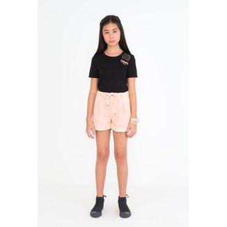 Shorts Infantil Color Cintura Alta Com Pregas e Amarração Dimy Candy