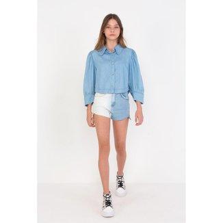 Shorts Infantil Jeans Boyfriend Assimétrico Bicolor Com Detalhe Lateral Dimy Candy