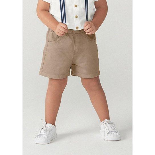 Shorts Infantil Menino Em Sarja Com Suspensório Toddler - C4F81ASN2 Masculino - Marrom