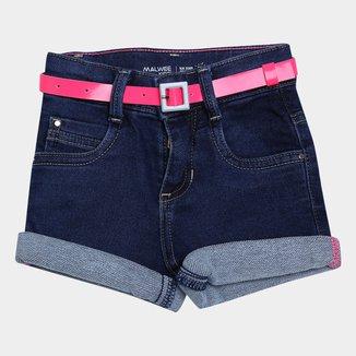 Shorts Jeans Bebê Malwee Com Cinto Neon Feminino